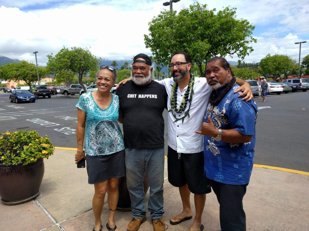Trinette Furtado, candidate for Makawao-Pā'ia-Haiku; Alika Atay, candidate for Wailuku;  Gabe Johnson, candidate for Lana'i; Richard DeLeon, candidate for South Maui.